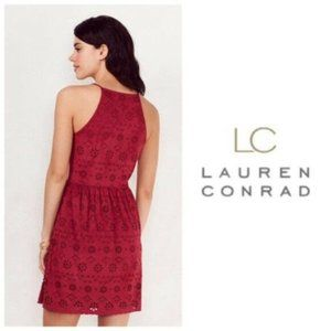 LC Lauren Conrad Red Wine Faux Suede Dress Sz M